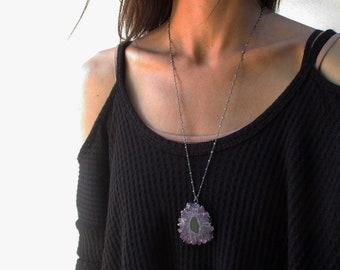 Amethyst stalactite necklace, amethyst slice pendant, raw amethyst jewelry, rough crystal silver necklace, February birthstone, purple stone