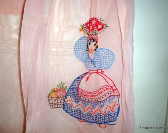 Vintage Pink Sheer Apron With Embroidery, Half Apron, Pocket, Mid Century
