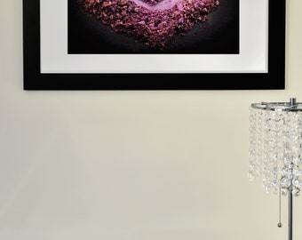 Love, crushed eyeshadow, love Photography, makeup Photography, Wall art, Home Decor, pink