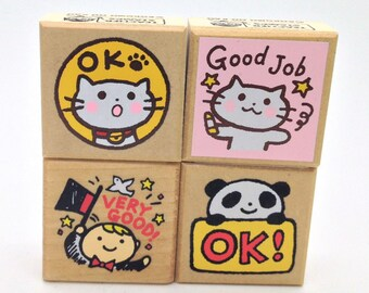 Animal Rubber Stamp Cat, Magician & Dove, Panda (1604) Price depends on order volume.