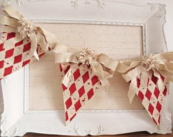 Valentine Decor, Vintage Valentine Decor, Christmas Decor, Christmas Banner, Vintage Christmas, Christmas Garland, Shabby Chic Christmas