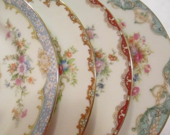 Vintage Dessert / Bread Plates, Mismatched China, Tea Party, Tea Plates, Cake Plates, Wedding, Bridal Luncheon, Garden Party - Set of 4