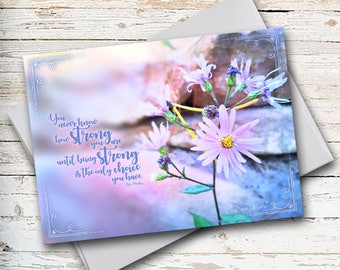 Inspirational Quote, Note Card Sets, Encouragement, Sympathy Card, Purple Flowers, Pink Flowers, Floral Note Card, Thinking of You, Blank