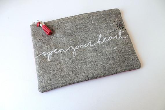 """""""Open your heart"""" linen bag"""