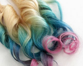 Teal Blue Pink Lavender Tape in Remy Blonde Colormelt Rainbow Ombre Human Hair Extensions (20 pce)