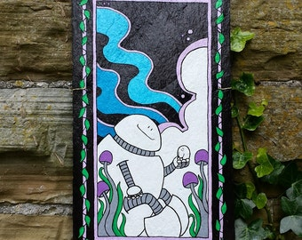 Chep and Robot Friends - Painting On Reclaimed Slate Tile - Wall Hanging