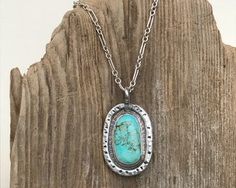 Handcrafted Rustic Southwestern Sterling and Turquoise Stone Pendant