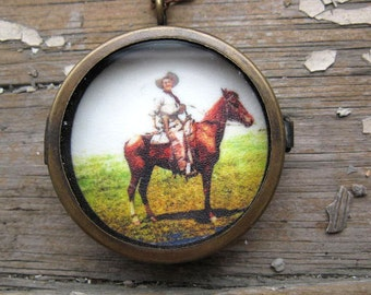 Horse and Cowboy Necklace Shadowbox Locket Country Western Jewelry Vintage Picture Texas Jewelry Gift For Her Women Accessory