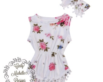 Baby Girl's Floral romper with headband