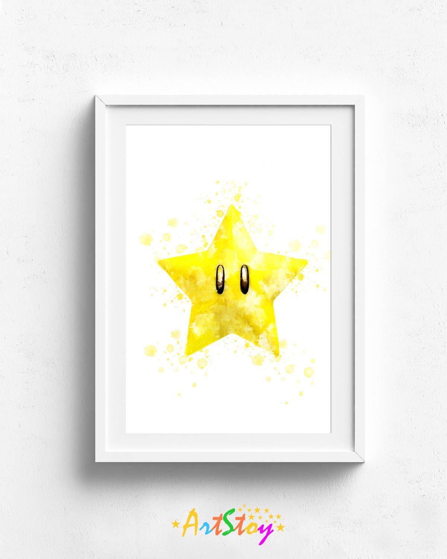 Mario star mario bros print super mario art super mario