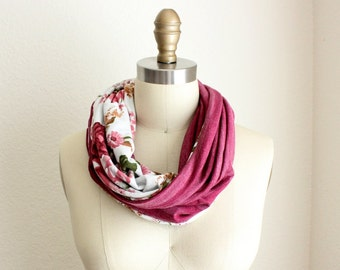 Rose Maroon Stripes and Floral Infinity Scarf, Reversible