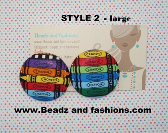 Crayola crayons fabric cover button earrings