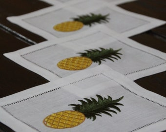Pineapple. Cocktail Napkin. Wedding Cocktail Napkin. House-warming Gift. Wedding Gift. Gift. Linen Cocktail Napkin. Set of Four.