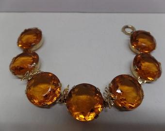Gorgeous Vintage Citrine Headlight Crystal Bracelet