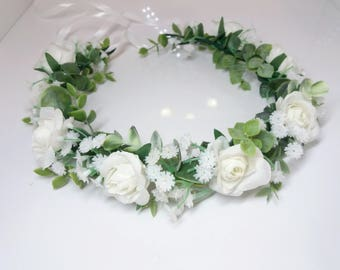 Baby breath crown, First Holy communion head wreath,Eucalyptus flower crown,White Floral  accessories, ,Baby flower crown,Flower girl crown