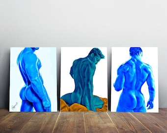 set of 3, blue man, gay interest, male figure study