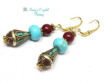 Tibetan Nepalese and Turquoise Earrings - Tribal Earrings - Boho Style
