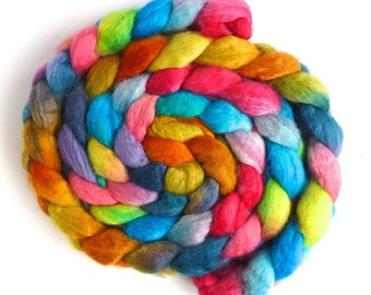 BFL Wool Roving - Hand Painted Spinning or Felting Fiber, Toy Bin