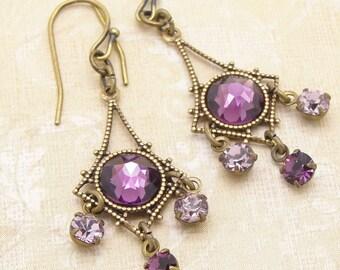 Boucles d'oreilles violet dans un Style petit Chandelier avec strass améthyste