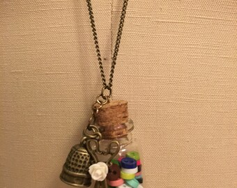 Sewing Necklace: Buttons in a Bottle