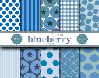 Blueberry Digital Scrapbook Paper Blue Gingham Dots Stripes