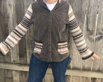 Womens upcycled clothing, upcycled sweater hoodie, Eddie Bauer, womens large hoodie, corduroy shirt, sustainable fashion