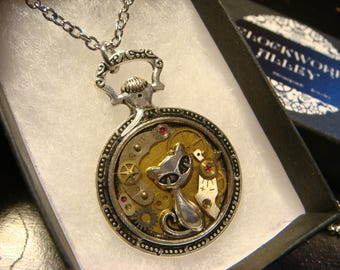 Clockwork Cat Steampunk Pocket Watch Pendant Necklace -Made with Real Watch Parts (2498)