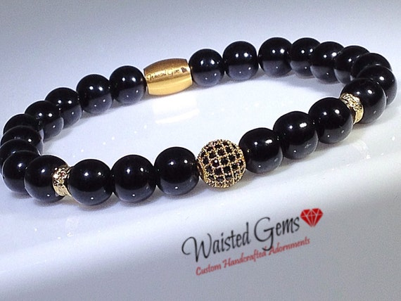 Onyx and Gold Men 8mm Beaded Bracelet Set, Men gift ideas, Black Beaded Bracelets, Men Bracelets, Fathers Day Gift  zmw9199