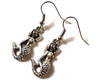 Silver Mermaid Earrings, Mermaid Charm Earrings, Nautical Jewelry, Beach Jewelry, Handmade Women's Jewelry, Gifts under 5 Dollars, Gift Idea