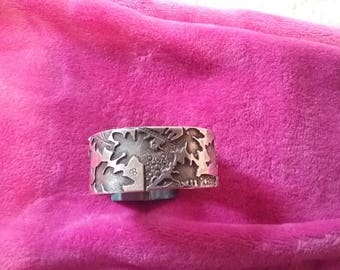 Custom Made Silver, Overlay, Etched Cuff