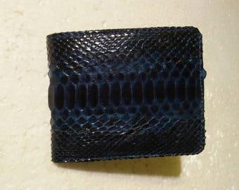 BLUE PYTHON WALLET Genuine Python Snakeskin Bifold Wallet