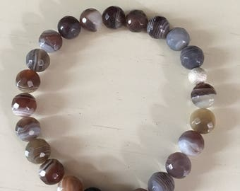 Handmade Faceted Agate and Lava Stone Crystal Beaded Bracelet