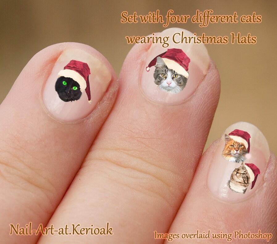 Christmas cat nail art cats wearing santa hats tabby zoom prinsesfo Images