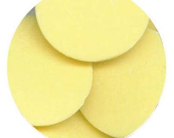 Yellow 7 oz Merckens Confectionery Coating - Chocolate Melts 7 ounces bag Disks