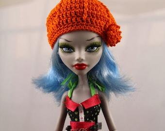 Orange Crochet Hat for Monsterdoll, MH Dolls