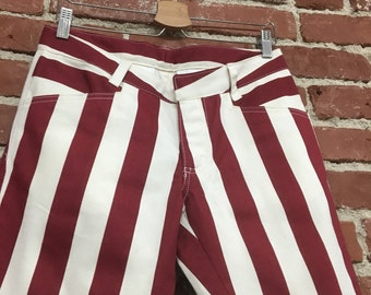 """Vintage NOS Dead Stock Mod Sixties Men's Bold Striped Pegged Jeans Red and White 60s Stripes 30"""" waist 28.5"""" inseam"""