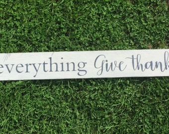 """In everything give thanks   thankful sign   rustic wood sign   scripture wall art   farmhouse style   french country   48"""" x 5.25"""""""