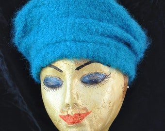 Womens Vintage 60's Mod Hat Teal-Blue-Green Cap Newsboy Funky Hippie Boho Fuzzy-Loop Texture Turban Frank Benson Boutique Theater  Costume