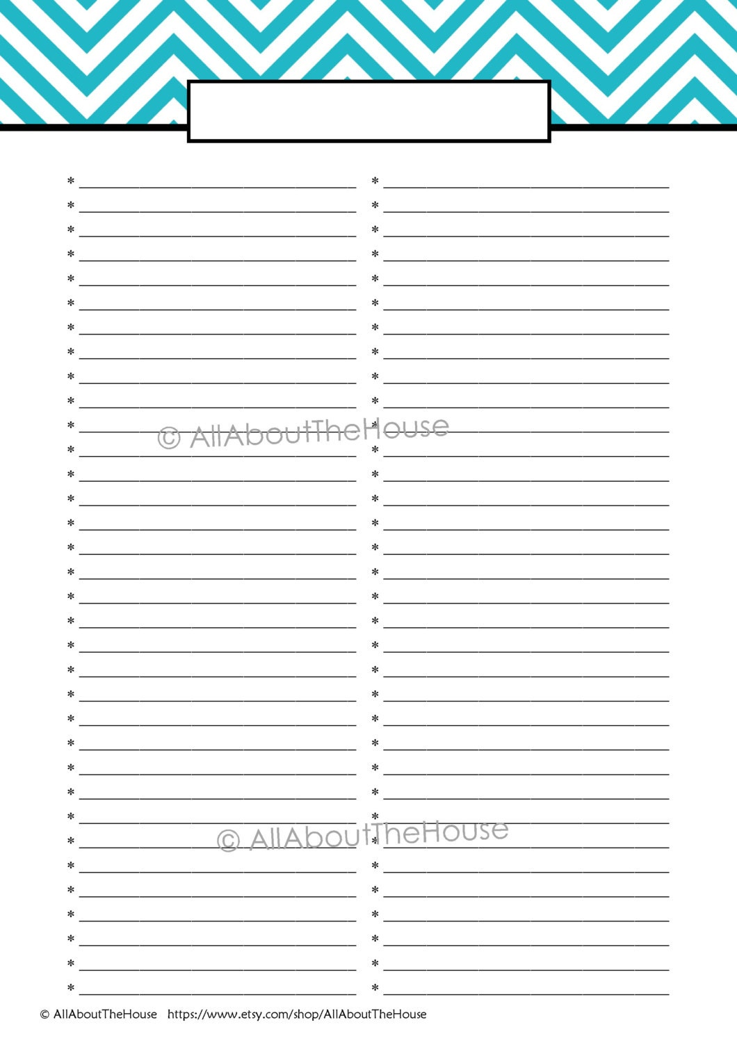 Cute Blank Shopping List