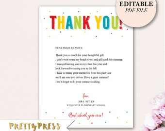 Editable Thank You Note, Teachers Thank You Note, Instant Download Thank You, Editable PDF, Teachers Thank You Cards, Prints on Letter Paper