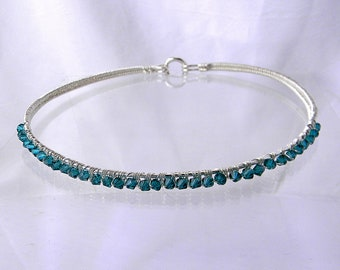 """Discreet Slave Collar Sterling Silver with Teal Bi-cone Swarovski Crystal Elements Public Day Collar will fit a 15"""" neck"""