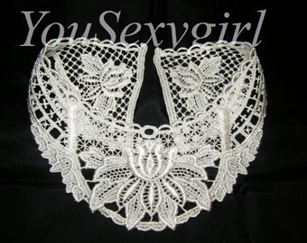 white knitted collar, crochet collar, womens' vintage collar, vintage collar, lase collar