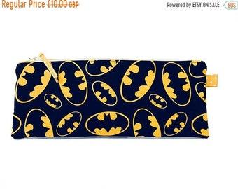 SALE 20% OFF Batman Logo, Pencil Case, Makeup Bag, Multi Purpose Pouch, Gadget Bag, Handmade in the UK
