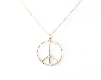 Minimalist Gold Chain Necklace - Peace Sign Charm - Gold Filled - Gold - The Basics: Textured Open Peace Sign