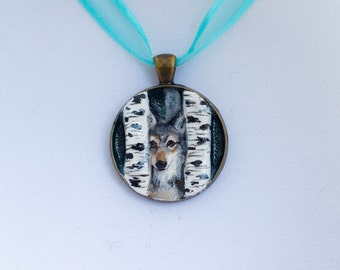 """Handmade Wolf Dog In Birch Trees Pendant Necklace Charm 1.25"""" Jewelry"""