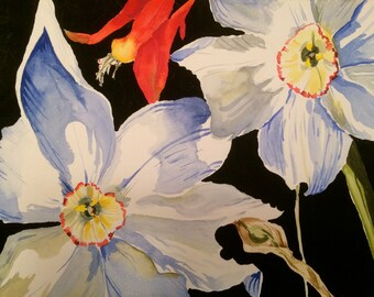 Original Watercolor Floral Painting - Blue and Red Flowers on Black Background - Primary Color Flower Painting - 11x14 Wat