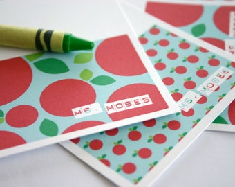 Gift for Teacher Personalized Mini Apple Note Cards Holiday Present Elementary Preschool Teacher Appreciation Custom Name Stationery