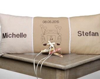 Hochzeitskissen, Geldgeschenk Auto individualisiert mit Namen und Datum