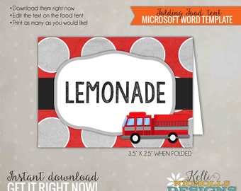 Fire truck Party Food Tent, Fireman Birthday Decoration, Printable Template, Instant Download #B118