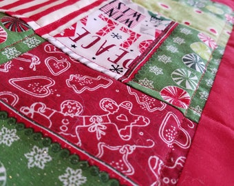 Christmas Candy Quilted Table Topper, Table Runner, Holiday Theme, Red, White, Green, Candy Canes, Heat Pad, Gingerbread